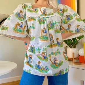 Vintage 70s Holly Hobbie folk peasant blouse XL